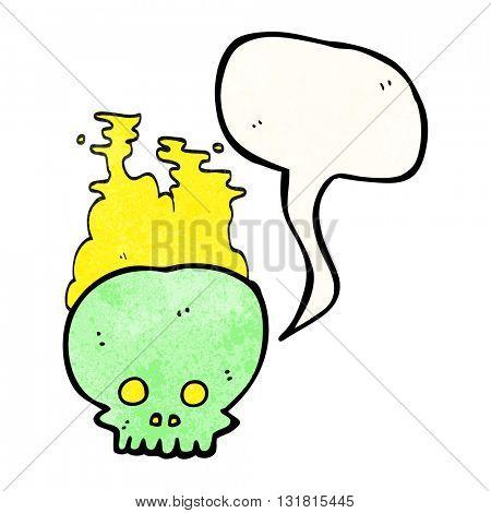 freehand speech bubble textured cartoon steaming skull