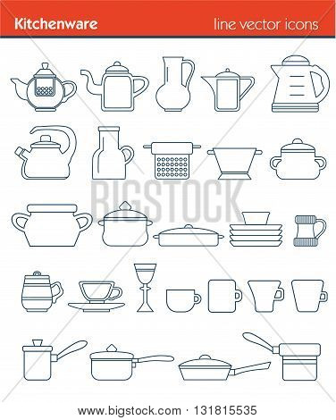 Outline icon collection - cooking, kitchen tools and utensils, ouline set, vector, kitchenware