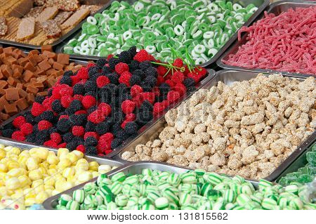 Colorful candy sweets displayed on the market