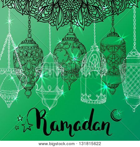 Vector shiny Ramadan card. Arabic lanterns. Islamic holiday background. Ink handwritten inscription Ramadan Kareem. Brush lettering. Calligraphy. Green greeting card. Islamic arabic ornament.