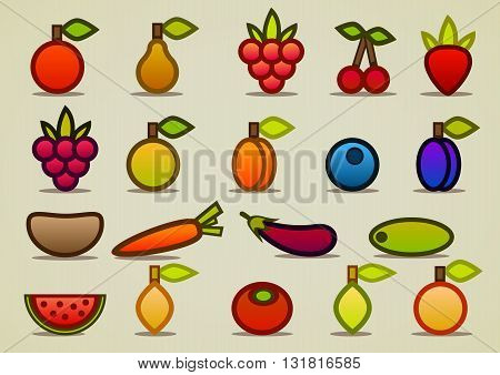 set of flat fruits, berries and vegetables