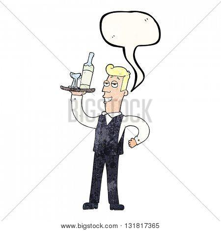freehand speech bubble textured cartoon waiter