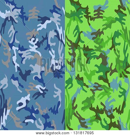 Camouflage seamless sea water & tropic spots pattern background set vector illustration