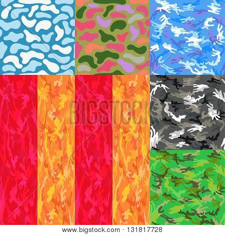 Camouflage seamless spots pattern background set vector illustration