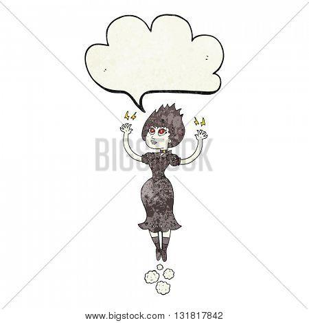 freehand speech bubble textured cartoon vampire girl flying