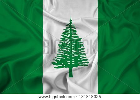 Waving Flag of Norfolk Island, with beautiful satin background