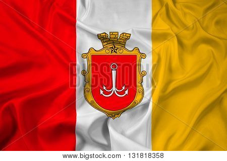 Waving Flag of Odessa, with beautiful satin background