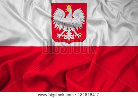 Waving Flag of Poland with Coat of Arms
