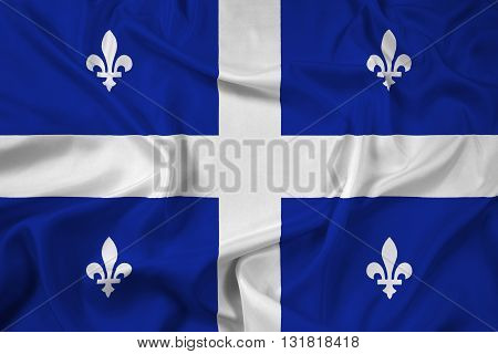 Waving Flag of Quebec, with beautiful satin background