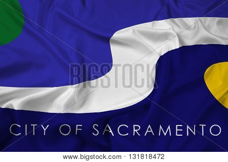 Waving Flag of Sacramento California, with beautiful satin background