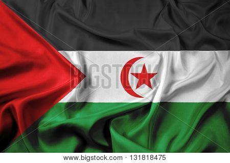 Waving Flag of Sahrawi Arab Democratic Republic