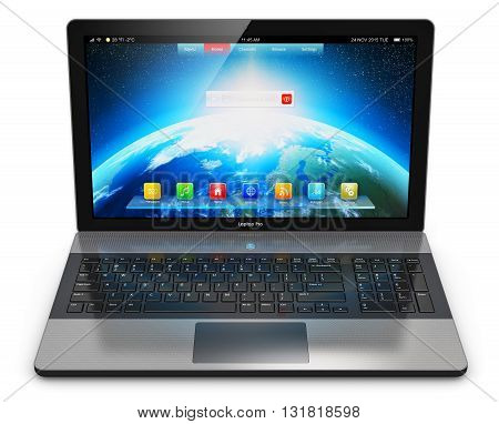 3D render of modern aluminum business laptop or metal silver office notebook with color screen interface with application icons and app buttons isolated on white background