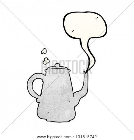 freehand speech bubble textured cartoon steaming  coffee pot