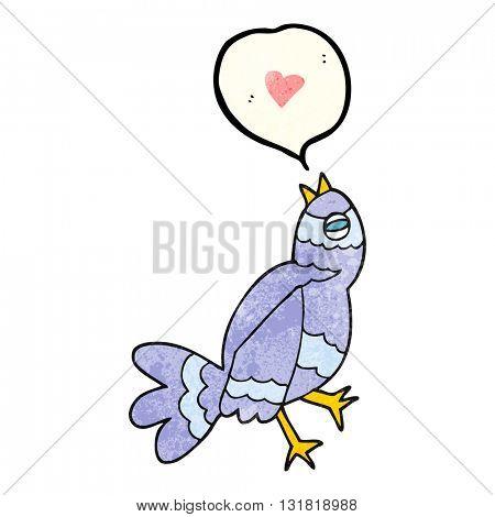 freehand speech bubble textured cartoon bird singing
