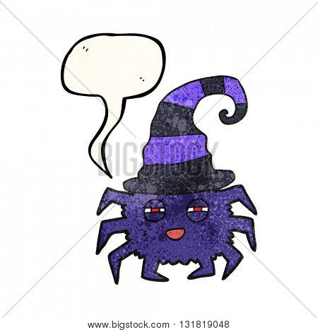 freehand speech bubble textured cartoon halloween spider
