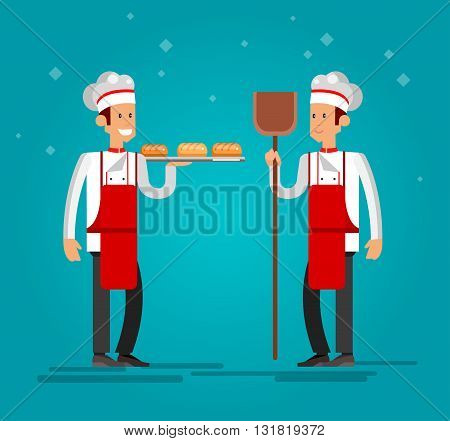 Vector detailed characters male professional chef, Cook baker cooking bread, bakery interior flat design vector illustration