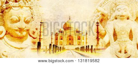 Grunge background with paper texture and landmarks of India - Taj Mahal, statues of Hindu gods