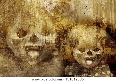 Grunge Halloween background with old stucco wall texture and spooky clown