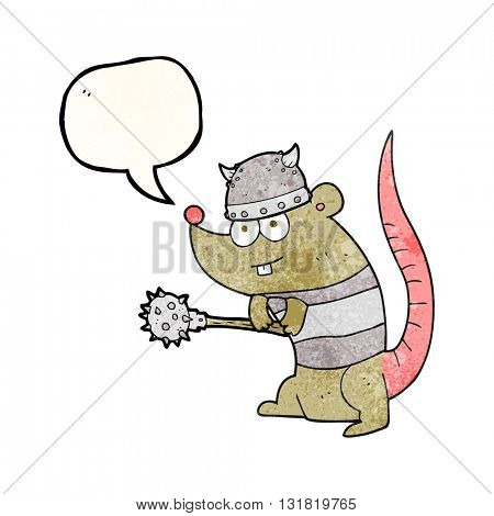 freehand speech bubble textured cartoon rat warrior