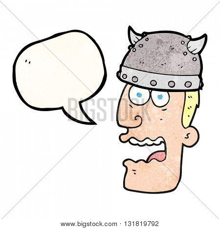 freehand speech bubble textured cartoon screaming warrior man