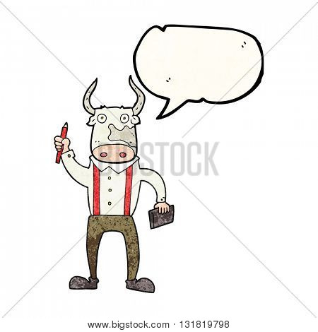 freehand speech bubble textured cartoon bull man
