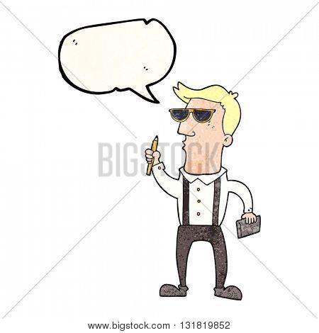 freehand speech bubble textured cartoon man with notebook