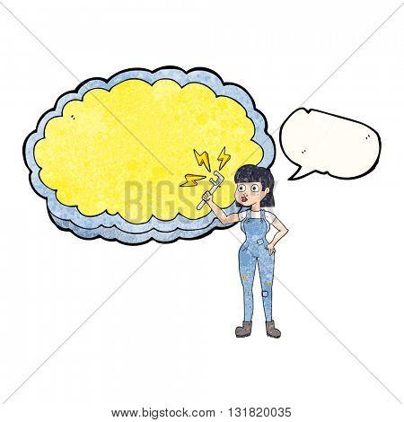 freehand speech bubble textured cartoon female plumber