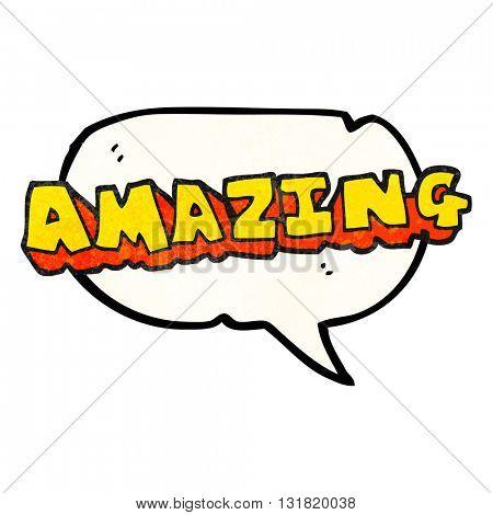 freehand speech bubble textured cartoon amazing word