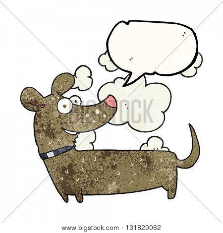 freehand speech bubble textured cartoon happy dog