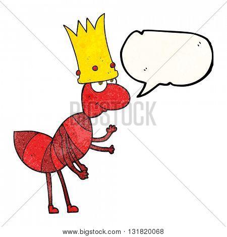freehand speech bubble textured cartoon ant queen