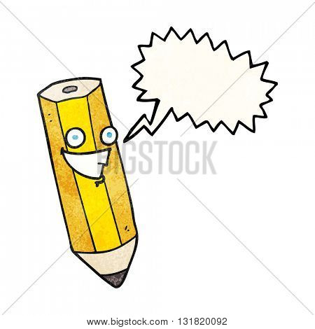 happy freehand speech bubble textured cartoon pencil