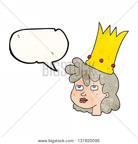 freehand speech bubble textured cartoon queen with crown