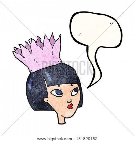 freehand speech bubble textured cartoon woman wearing paper crown