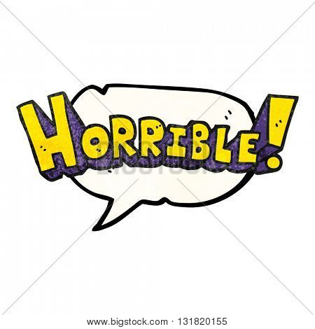 freehand speech bubble textured cartoon word horrible