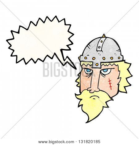 freehand speech bubble textured cartoon viking warrior
