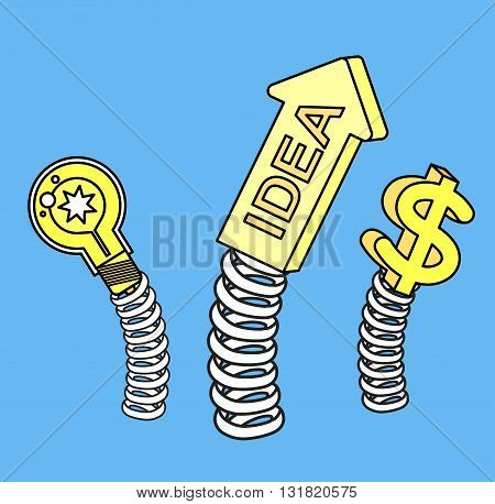 Vector detailed business illustration concept Creative idea with light lamp, arrow and dollar sign on a spring for website and promotion banners.