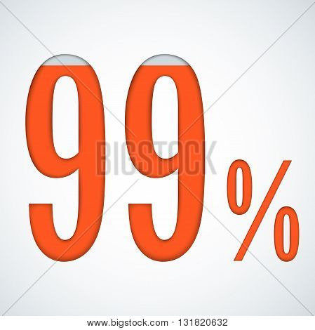 99 percent Vector illustration. Number 99 isolated on white background.