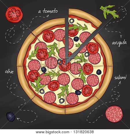 Pizza with salami color picture sticker. Fast food. Hand drawn vector illustration.