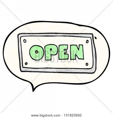 freehand speech bubble textured cartoon open sign
