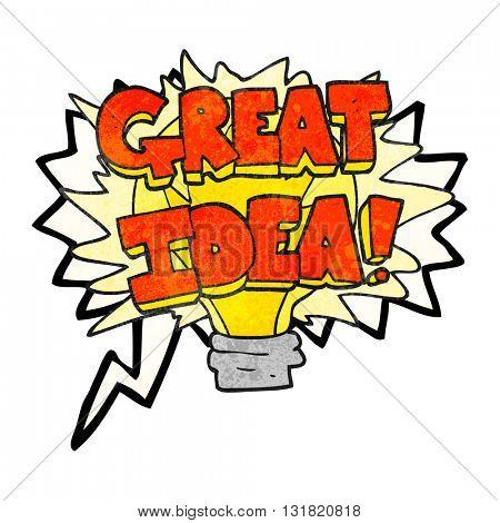 freehand speech bubble textured cartoon great idea light bulb symbol
