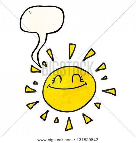 happy freehand speech bubble textured cartoon sun