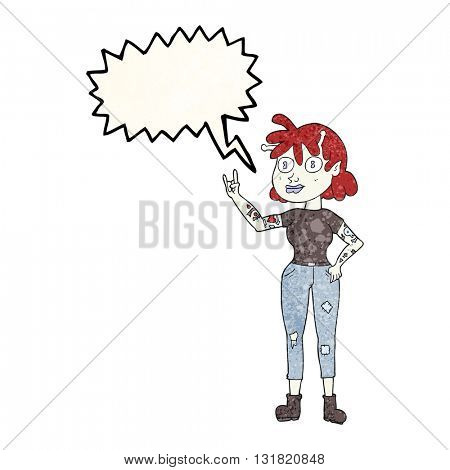 freehand speech bubble textured cartoon alien rock fan girl