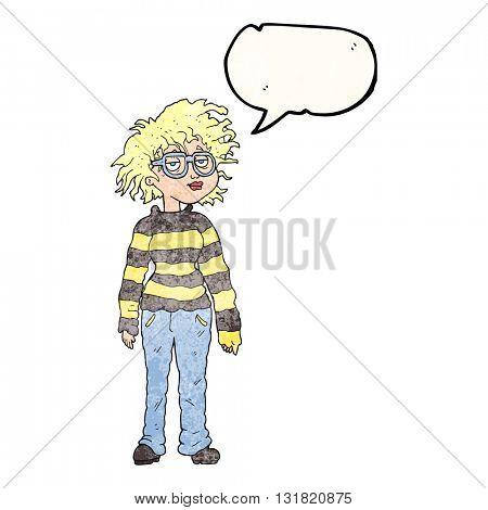 freehand speech bubble textured cartoon geeky girl