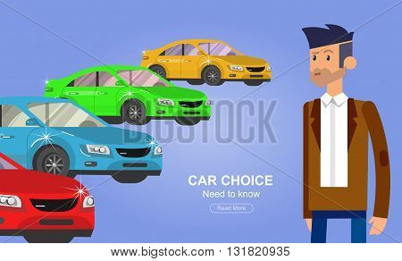 design concept of choice car and buying a car. Vector car, car cool flat, car  illustration. Vector detailed character buyer man, cool flat  illustration. Web banner template