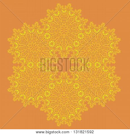 Mandala Isolated on Orange Background. Round Ornament