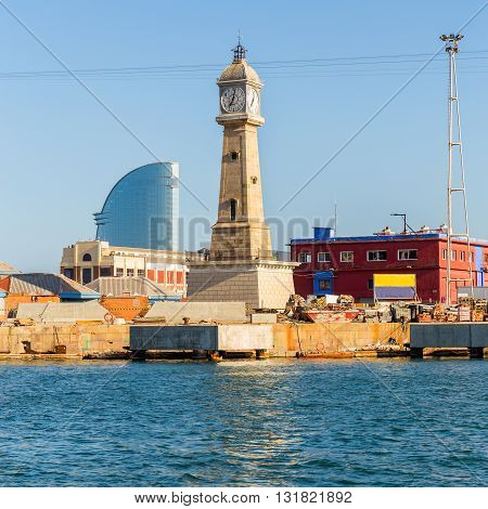 Barceloneta's Clock Tower in Port Vell, Barcelona