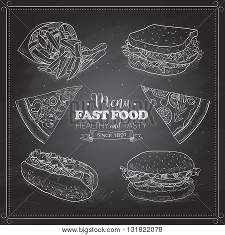 Scetch of fast food menu on a black board. Vector illustration, EPS 10