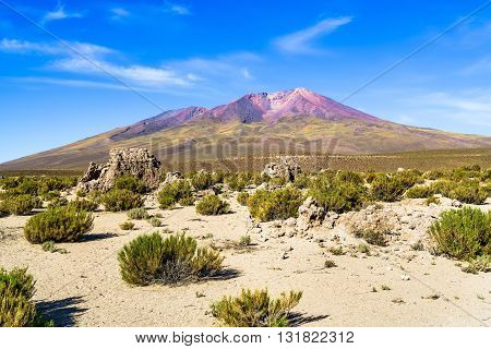 Mountain and desert in The National Park Uyuni Bolivia