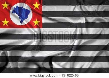 Waving Flag of Sao Paulo State, with beautiful satin background