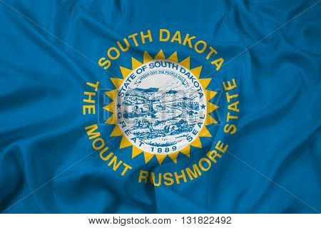 Waving Flag of South Dakota State, with beautiful satin background